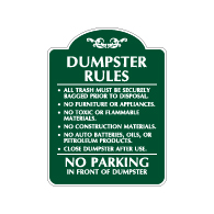 Mission Style Dumpster Rules List Sign - 18x24 - Decorative Signs Made with Reflective Rust-Free Heavy Gauge Durable Aluminum available at STOPSignsAndMore.com