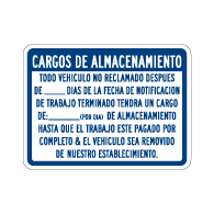 Spanish Vehicle Storage Charges Sign - Single-Faced - 24x18 - Non-Reflective, Heavy-Gauge Rust-Free Aluminum Auto Repair Rates Sign
