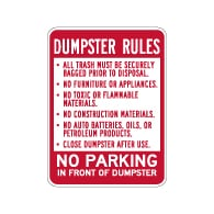 Dumpster Rules No Parking In Front Of Dumpster Sign - 18x24 - Dumpster Signs Made with Reflective Rust-Free Heavy Gauge Durable Aluminum available at STOPSignsAndMore.com