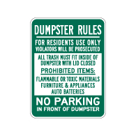 Dumpster Rules Residents Use Only Sign - 18x24 - Dumpster Signs Made with 3M Reflective Rust-Free Heavy Gauge Durable Aluminum available at STOPSignsAndMore.com