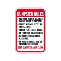 Dumpster Rules Keep Dumpster Area Clean Sign - 12x18 - Made with Engineer Grade Reflective Rust-Free Heavy Gauge Durable Aluminum available at STOPSignsAndMore.com