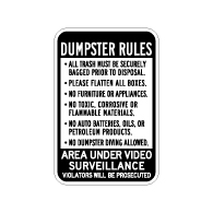 Dumpster Rules Area Under Video Surveillance Sign - 12x18 - Made with Engineer Grade Reflective Rust-Free Heavy Gauge Durable Aluminum available at STOPSignsAndMore.com