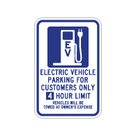4 hour Limit 12x18 Electric Vehicle Parking Only Sign -  12x18 - available at STOPSignsAndMore.com