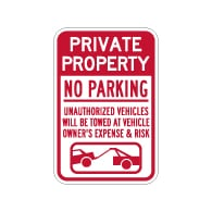 Private Property No Parking Tow Away Sign - 12x18 - Made with 3M Engineer Grade Reflective Rust-Free Heavy Gauge Durable Aluminum available at STOPSignsAndMore.com