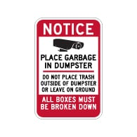 Notice Do Not Place Trash Outside Of Dumpster Sign - 12x18 - Made with 3M Reflective Rust-Free Heavy Gauge Durable Aluminum available at STOPSignsAndMore.com