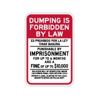 Dumping Is Forbidden By Law California Penal Code Sign - 12x18 - Made with Reflective Rust-Free Heavy Gauge Durable Aluminum available at STOPSignsAndMore.com
