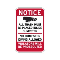 Notice All Trash Must Be Placed Inside Dumpster Sign - 12x18 - Made with 3M Reflective Rust-Free Heavy Gauge Durable Aluminum available at STOPSignsAndMore.com