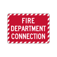 Fire Department Connection Sign - 14x10. Reflective rust-free heavy-gauge aluminum. Signs that Identify the location of any connection for the Fire Department.