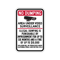 California Penal Code No Dumping Fine Sign - 12x18 - Made with Engineer Grade Reflective Rust-Free Heavy Gauge Durable Aluminum available at STOPSignsAndMore.com