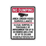 California Penal Code No Dumping Fine Sign - 18x24 - Made with Engineer Grade Reflective Rust-Free Heavy Gauge Durable Aluminum available at STOPSignsAndMore.com