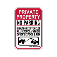 California Private Property No Parking CVC Section 22658 Sign - 12x18. Made with 3M Reflective Rust-Free Heavy Gauge Durable Aluminum available at STOPSignsAndMore