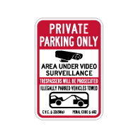 California Private Parking Tow Away CVC Section 22658 Sign - 12x18 - Made with 3M Reflective Rust-Free Heavy Gauge Durable Aluminum available at STOPSignsAndMore