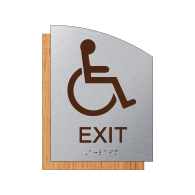 "ADA Accessible Exit Sign - 6.5"" x 8.5"" - Brushed Aluminum and Maple Fusion Wood Grain Laminate - Tactile Text & Grade 2 Braille 