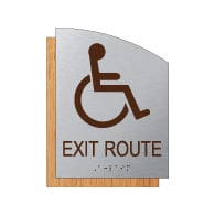 "ADA Accessible Exit Route Sign - 6.5"" x 8.5"" - Brushed Aluminum and Maple Fusion Wood Grain Laminate - Tactile Text & Grade 2 Braille 