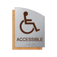 "ADA Accessible Symbol Sign - 6.5"" x 8.5"" - Brushed Aluminum and Maple Fusion Wood Grain Laminate - Tactile Text & Grade 2 Braille 
