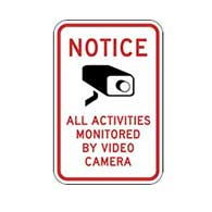 Notice All Activities Monitored By Video Surveillance Label - 6x8 - Package of 3 labels. Peel-off self-adhesive labels can be applied to flat surfaces