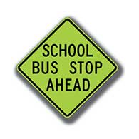 S3-1 School Bus Stop Ahead Warning Signs - 24x24- Official Diamond Grade (DG3) Florescent Yellow-Green Reflective School Bus Stop Signs