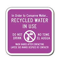 Recycled Water In Use Bilingual Sign - 12x12