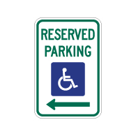 R7-8 Federal Disabled Parking Sign with Left Arrow - 12x18 - Reflective heavy-gauge (.063) aluminum Handicapped Parking signs