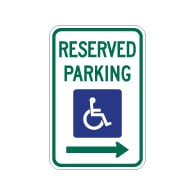 R7-8 Federal Disabled Reserved Parking Signs with Right Arrow - 12x18 - Reflective Rust-Free Heavy Gauge Aluminum ADA Parking Signs