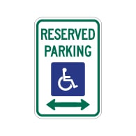 R7-8 Federal Disabled Reserved Parking Signs - Double Arrow - 12x18 - Reflective Rust-Free Heavy Gauge Aluminum ADA Parking Signs