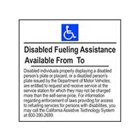 ADA Disabled Fueling Assistance Available Hours - 6x6 - Package of 3 Labels or Window Decals