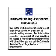 ADA Disabled Fueling Assistance Unavailable - 6x6 - Package of 3 Labels or Window Decals