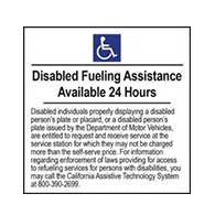 ADA Disabled Fueling Assistance Available 24 Hours - 6x6- Package of 3 Labels or Window Decals
