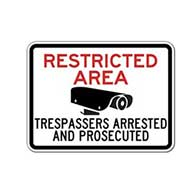 Restricted Area Trespassers Arrested And Prosecuted Signs - 24x18 - Reflective heavy-gauge (.063) aluminum No Trespassing signs