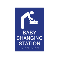 ADA Compliant Baby Changing Station Restroom Signs with Parent and Child Symbols and Braille - 6x9