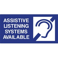 ADA Compliant Assistive Listening Devices Available Signs with Tactile Lettering, Ear Symbol, and Grade 2 Braille - 12x6 size