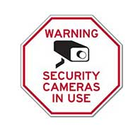 Security Signs in Stock: Warning Security Cameras In Use STOP Signs - 18x18  - A Reflective Rust-Free Heavy Gauge Aluminum Parking Sign