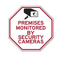 Reflective Premises Monitored By Security Cameras STOP Signs - 12X12 - Reflective, rust-free heavy-gauge (.063) aluminum Home Security Signs