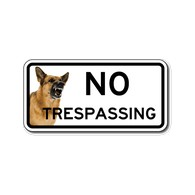 Buy Color No Trespassing Guard Dog Door Signs - 12x6 - Full-Color Reflective Rust-Free Aluminum Guard Dog Signs