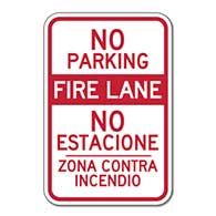 Reflective Bilingual No Parking Fire Lane Signs No Estacione Zona Contra Incendio Signs - 12x18 - Reflective Rust-Free Heavy Gauge Aluminum Bilingual Parking Signs