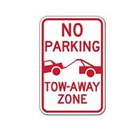 No Parking Tow-Away Zone Signs with Tow-Away Symbol - 12x18 - Reflective Rust-Free Heavy Gauge Aluminum No Parking Signs
