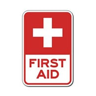 First Aid Station, Red Cross Symbol Signs - 12x18 - Reflective Rust-Free Heavy Gauge Aluminum