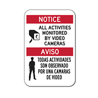 Bilingual Activities Monitored By Video Cameras Signs - 12x18