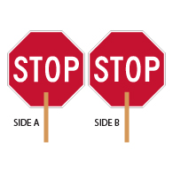 Two-Sided Paddle STOP Signs - 18x18 - Engineer Grade Prismatic Reflective Light-Weight Aluminum STOP Sign on Wood Handle