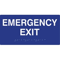 ADA Compliant Emergency Exit Signs with Tactile Text and Grade 2 Braille - 8x4