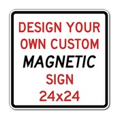 Custom Reflective and Magnetic Sign - 24x24 Size - Full Color Reflective Magnet Signs for Car Doors and Other Metal Surfaces