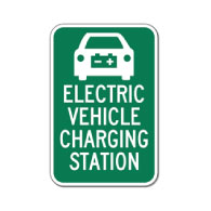 Electric Vehicle Charging Station Signs - 12x18 - Reflective Rust-Free Heavy Gauge Aluminum Electric Vehicle Parking Signs,