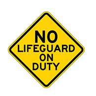 No Lifeguard On Duty Warning Signs - 12x12 or 18x18-  Reflective Rust-Free Heavy Gauge Aluminum Signs