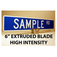 Custom Street Name Signs - 6 Inch High - Two-Sided - Extruded Blade Style - High Intensity Prismatic Reflectivity
