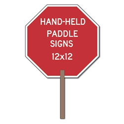 Custom Two-Sided Paddle Signs - 12x12 Custom Reflective Aluminum STOP Sign Paddles