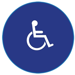 ADA Compliant Womens Restroom Door Signs with Symbol of Accessibility - 12x12