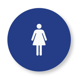 ADA Compliant and CA Title 24 Compliant Womens Restroom Door Signs with Female Symbol - 12x12