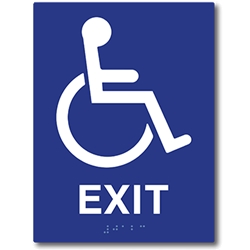 ADA Compliant Accessible Symbol Exit Sign with Tactile Text and Grade 2 Braille - 6x8