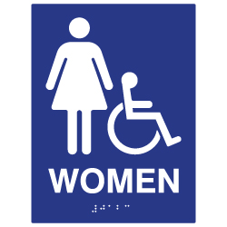 ADA Compliant Accessible Womens Restroom Wall Signs - 6x8
