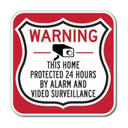 This Home-Business-Property Protected 24 Hours Shield Sign 12x12